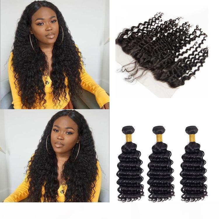 Сырые девственницы индийские пакеты волос с закрытием Deep Wave 100 необработанных человеческих волос человека 3 пакета с 13x4 швейцарский кружевной фронтальной
