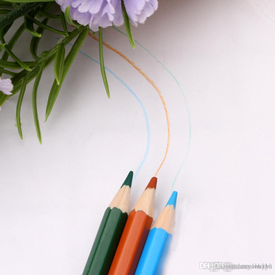 Wholesale 72 Pcs/Set School Pencil With Folding Black Pen Bags Students Mix Colors Pencil With Pouch Drawing Art Pencil DH1198 T03