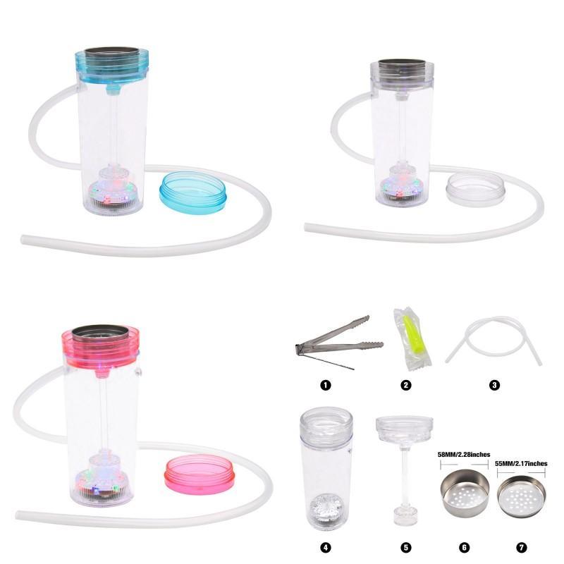 휴대용 물 담뱃대 세트 아크릴 물 담뱃대 shisha 치마 나르 게이 아크릴 플라스틱 흡연 워터 파이프 LED 라이터 유리 흡연 파이프 오일 장비 278 v2