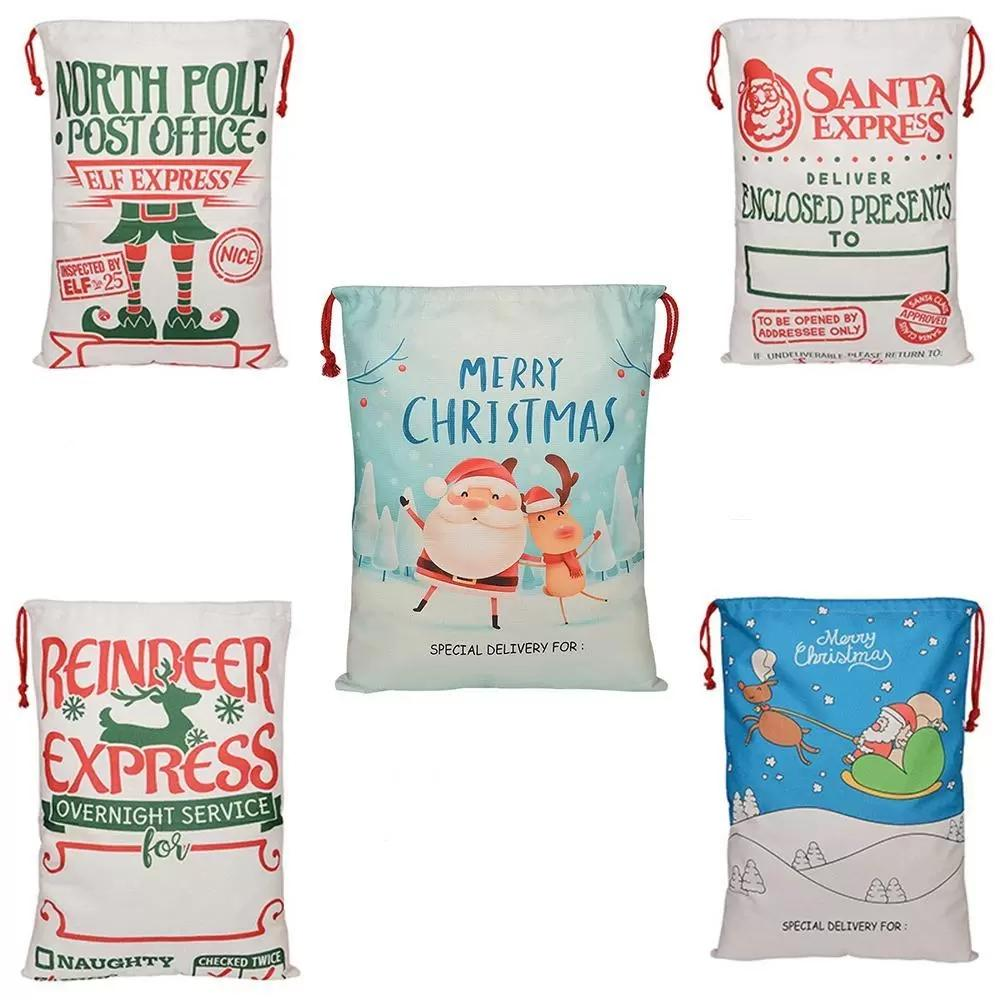 Christmas Gift Bags Linen Canvas Cotton Bag Santa Sack Xmas Reindeer Drawstring Pocket Printed Bag 5 Styles