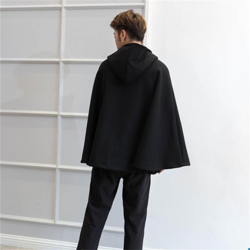 Erkek Ceket Yeni Sonbahar / Kış Moda Erkek Yün Ceket Yarasa Erkek Hoodie Yün Suit Cape Cape Cape