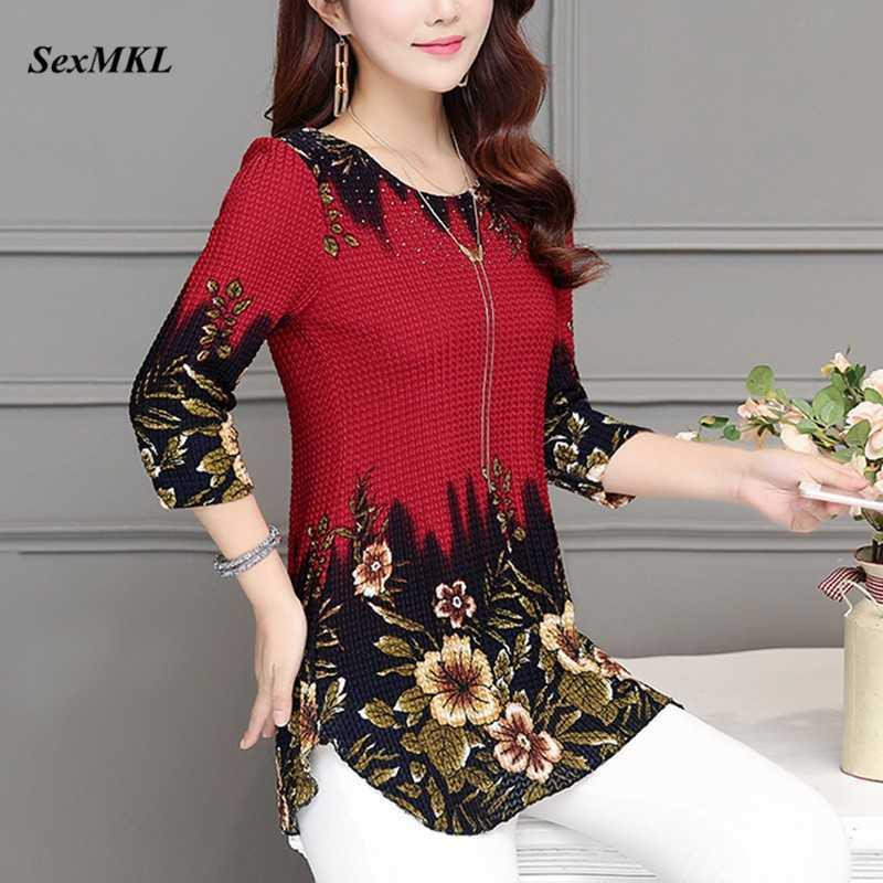 SEXMKL Plus Size Womens Tops and Blouses Fashion Summer Blouse Shirt Red Women Clothes O-neck Floral Print Feminine Blusas 210528