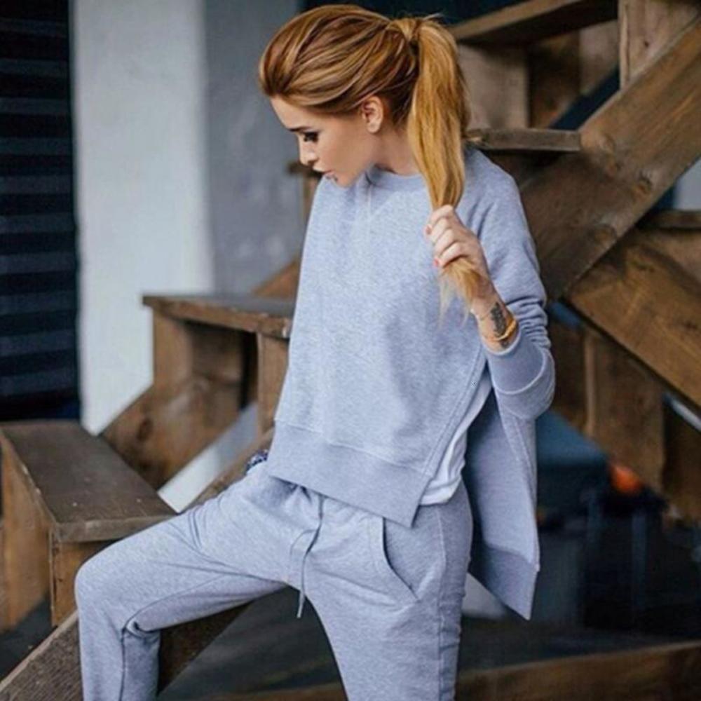 Осенний трексуит с длинным рукавом прорезь твердого толстовки повседневный костюм женская одежда 2 шт. Набор топы + брюки спортивный костюм женский