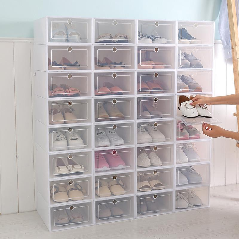 Boîtes de conteneur de stockage en plastique 6 pcs de chaussure pour l'organisateur de stockage pour le tiroir transparent des boîtes de tiroir Boîtes de chaussures Nouveau 210306