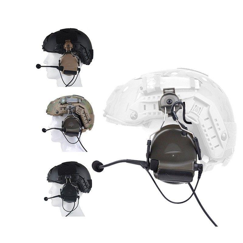Гарнитура ComTAC II с помощью адаптера железнодорожного адаптера шельтала для быстрых шлемов Mi Liter Airsoft Tactical C2 наушники Z031 257 x2