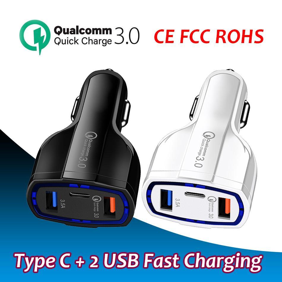 USB C شاحن سيارة المنافذ المزدوجة شحن سريع نوع مدمج محول الطاقة PD QC3.0 متوافق مع iPhone / iPad / Samsung / Huawei