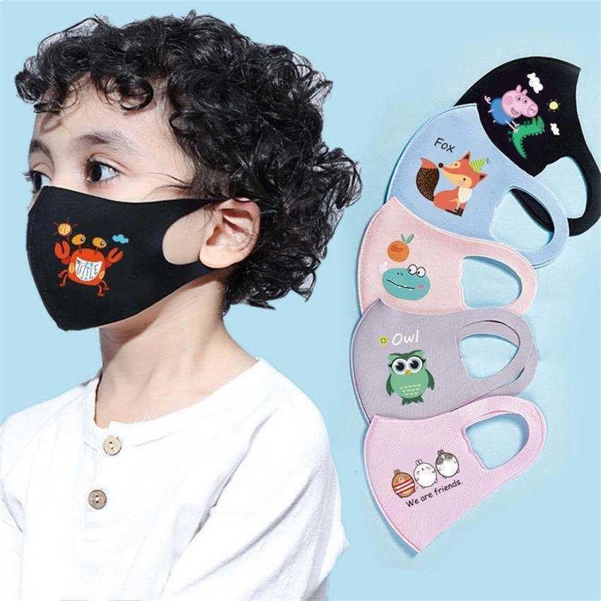 Máscara da camada de poeira Anti 2020 Capa de rosto único PM2.5 poeira anti-bacteriana lavável lavável gelo de seda de gelo máscaras criança