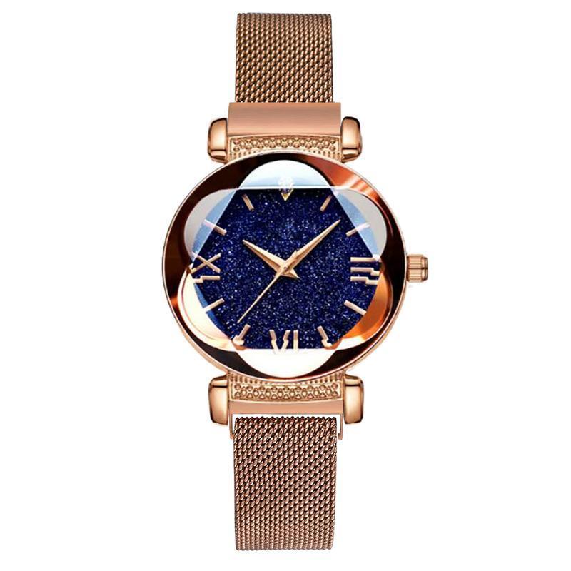 Armbanduhren Mode Elegante Magnet Rose Gold Damen Sternenhimmel Diamant Quarz Uhr Weibliche Armbanduhr Für Geschenk Relogio Luxus Frauen Uhren