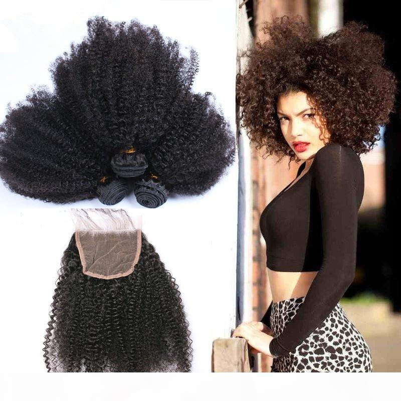 Mongolisches kinkiges lockiges Haar mit Spitzenverschluss 4pcs los Menschenhaar-Webart 3 Bündel mit Schließung Afro kinkeliges lockiges reines Haar mit Schließung