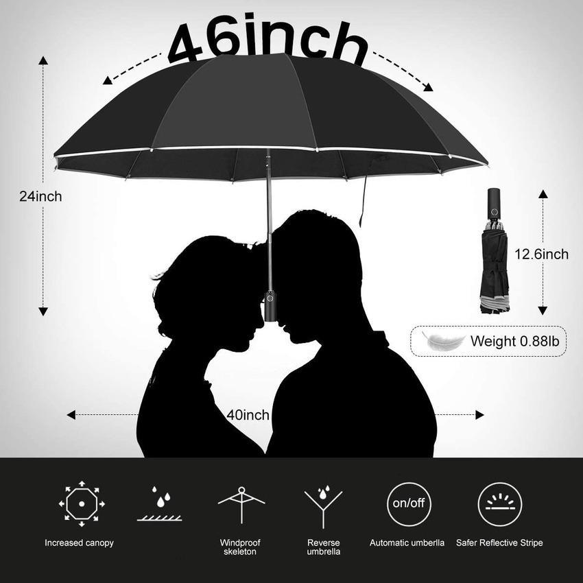 Şemsiye / Seyahat Taşınabilir Ters Rüzgar Geçirmez Katlanır Şemsiye, 10RIBS Oto Açık / Yakın Şemsiye, Gece Güvenliği için Yansıtıcı Çizgili 2TVZ