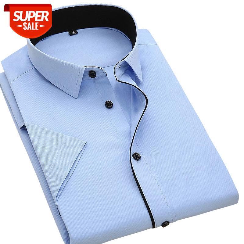 Verano Nueva calidad de buena calidad Botón de manga corta Negro Patchwork Cuello Easy Care Sarga Twill Vestir camisas sin bolsillo de pecho # 8z4a