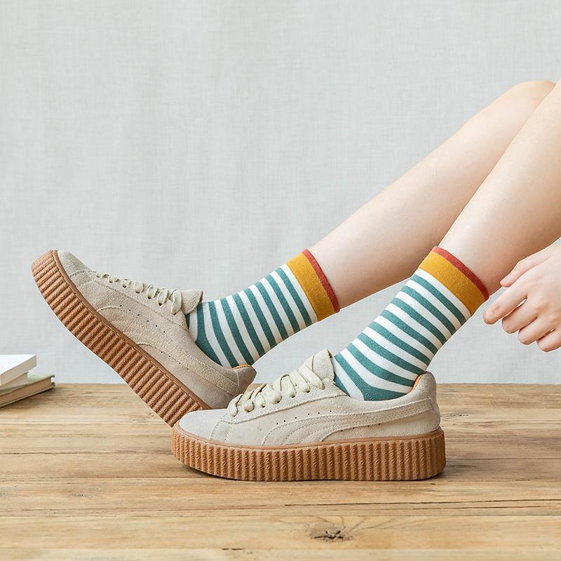 Женские полосатые носки вскользь Harajuku Girls Long-Sock женский многоцветный хлопок SOX мода студент-стиль улицы #f