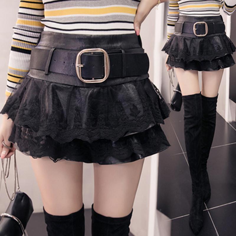2021 Осень и зимняя новая женская европейская и американская кружева и искусственная кожаные короткими юбки Сексуальная мода Puff Skyt DQ1237