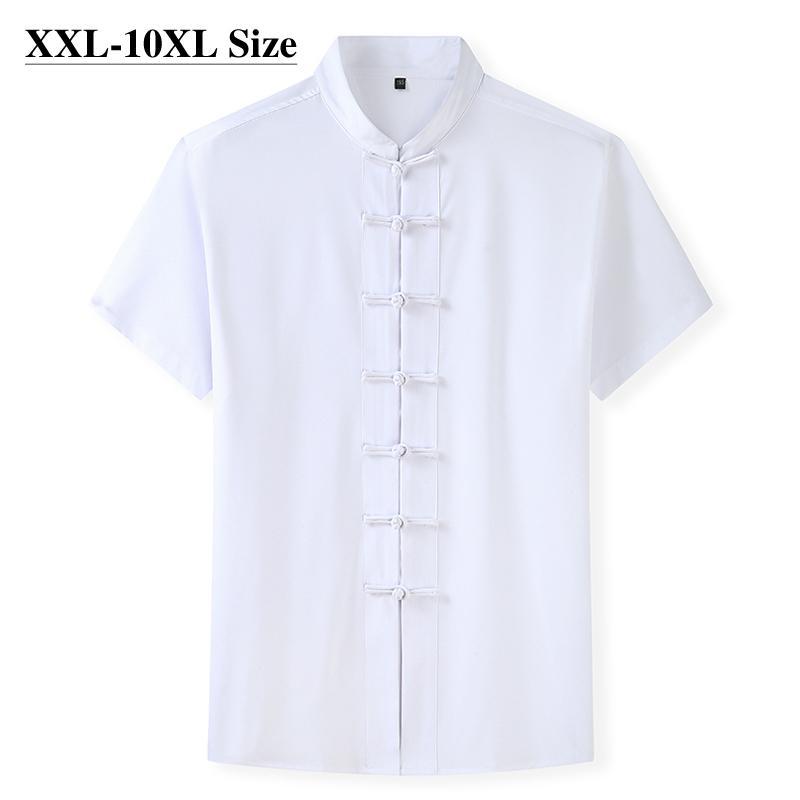 Plus taille 7XL 8xL 8xl 10xl Summer Tang Suit Chemise à manches courtes pour hommes Chinois traditionnel 4 couleurs lâche casual Kung Fu shirts 210305