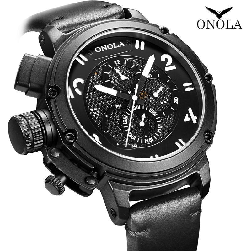 50mm 정품 Onola 새로운 클래식 레트로 다기능 자동 기계 대형 다이얼 방수 가죽 스트랩 남성 시계