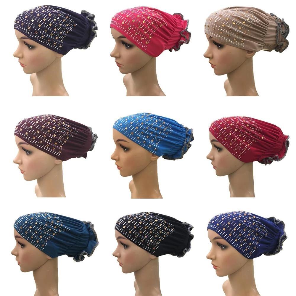 Flower musulmano donne sottolineatura strass turbante perdita di capelli chemio cappuccio headscarf headscarf berretto arabo beanie sottofondo