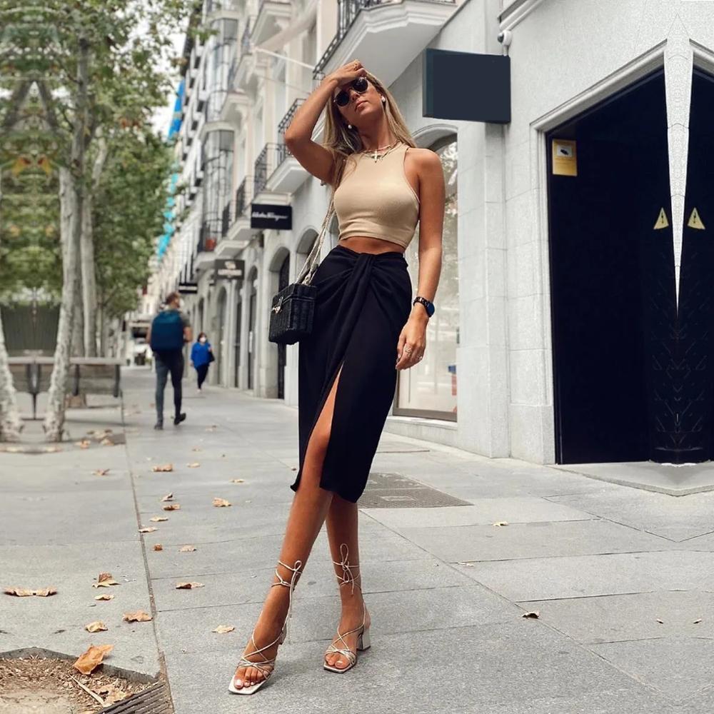 Klacwaya donna chic moda con knot wrap mido gonna vintage vita anteriore anteriore femmina gonne femminile faldas mujer high street 210225