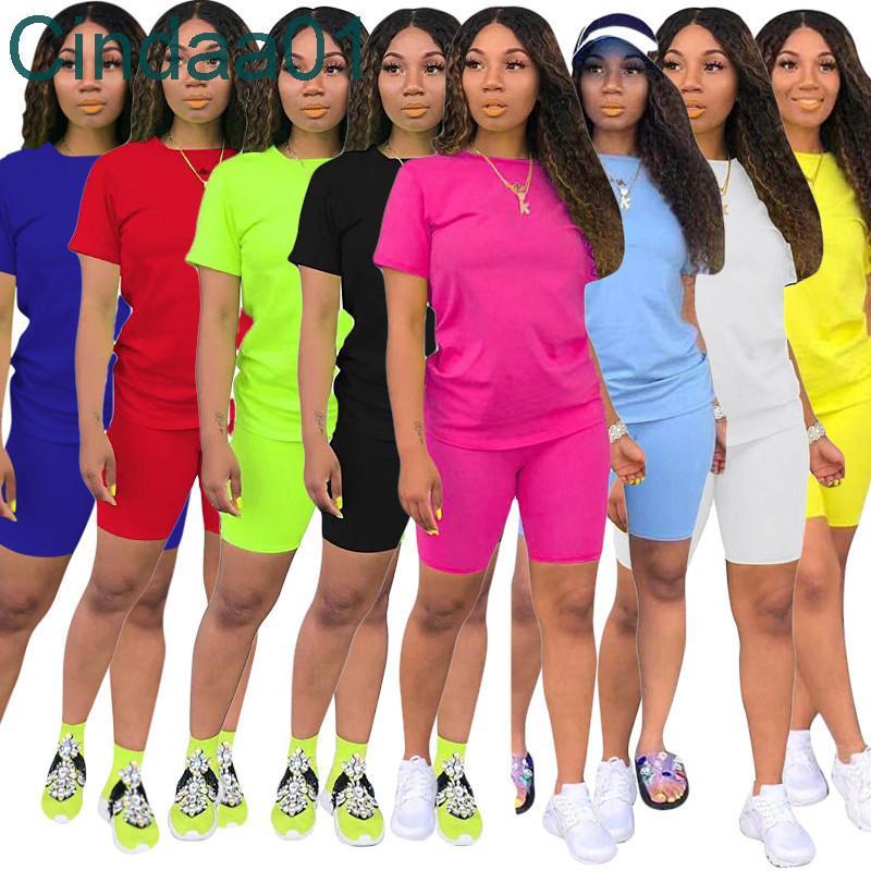 النساء رياضية قطعتين مجموعة مصمم 2021 جديد عارضة قصيرة الأكمام تتسابق بلون السيدات جديد أزياء فضفاضة تي شيرت الركض الدعاوى الساخنة
