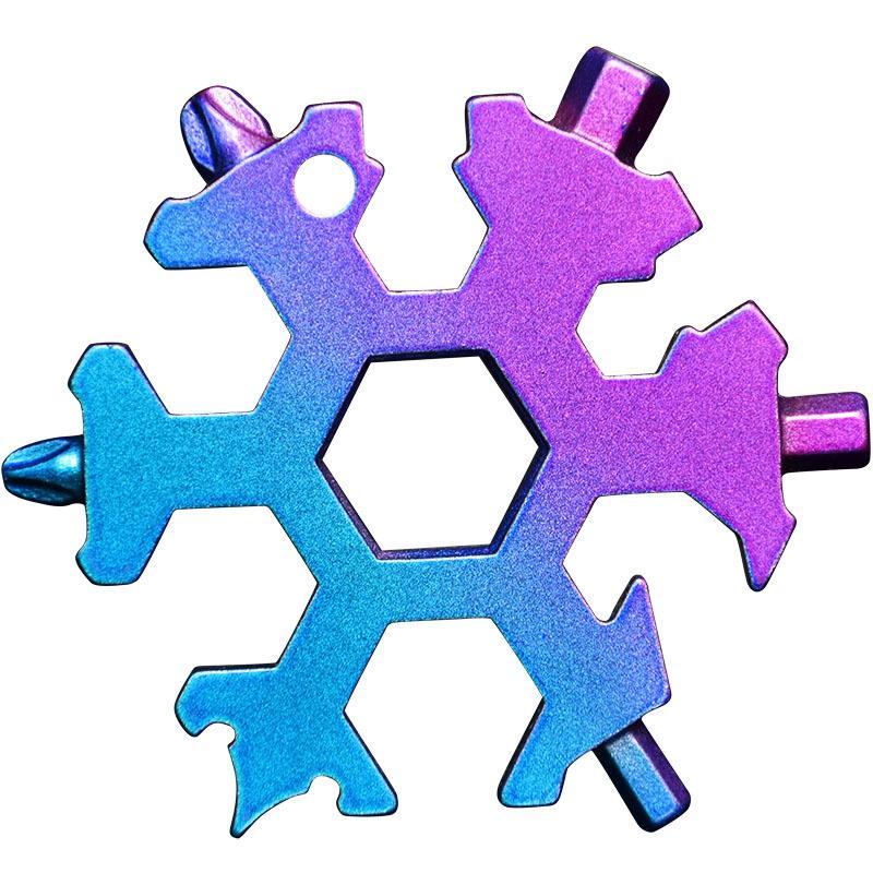 Schneeflocke Multi Werkzeug 18 in 1 Schneeflockenschlüssel Multitool Flaschenöffner Multi Key Ring Bike Fix Tool Weihnachten Schneeflocke Geschenk 66 S2