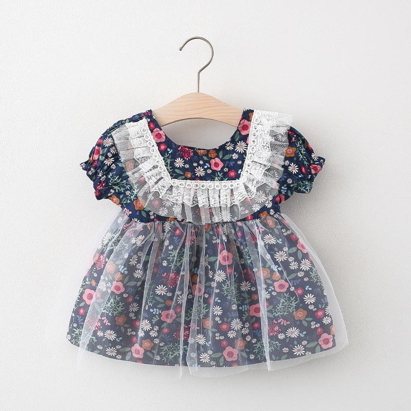 الفتيات الأزهار الأميرة اللباس 2021 جديد طفل الرباط جولة طوق زهرة طباعة تول فساتين الصيف الأطفال كشكش مطوي اللباس C6928