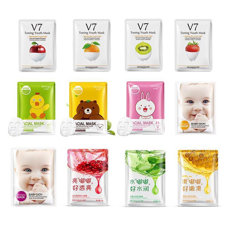 Bioaqua 12 종류 스퀴즈 마스크 시트 보습 얼굴 피부 처리 오일 컨트롤 페이셜 마스크 껍질 피부 관리 필라테 도매
