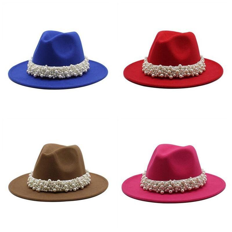 Pearl feltro fedora cappelli donne jazz caps ragazze moda panama tappo panama imitazione lana larga cappello da corn donna chiesa partito abito cappello femmina regalo