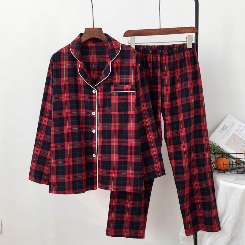Swimsuits de algodón Impresión a cuadros rojos Pijamas Set de pijamas de manga larga Ropa de dormir Cuello de turno Ropa de hogar Casual Pijamas Traje
