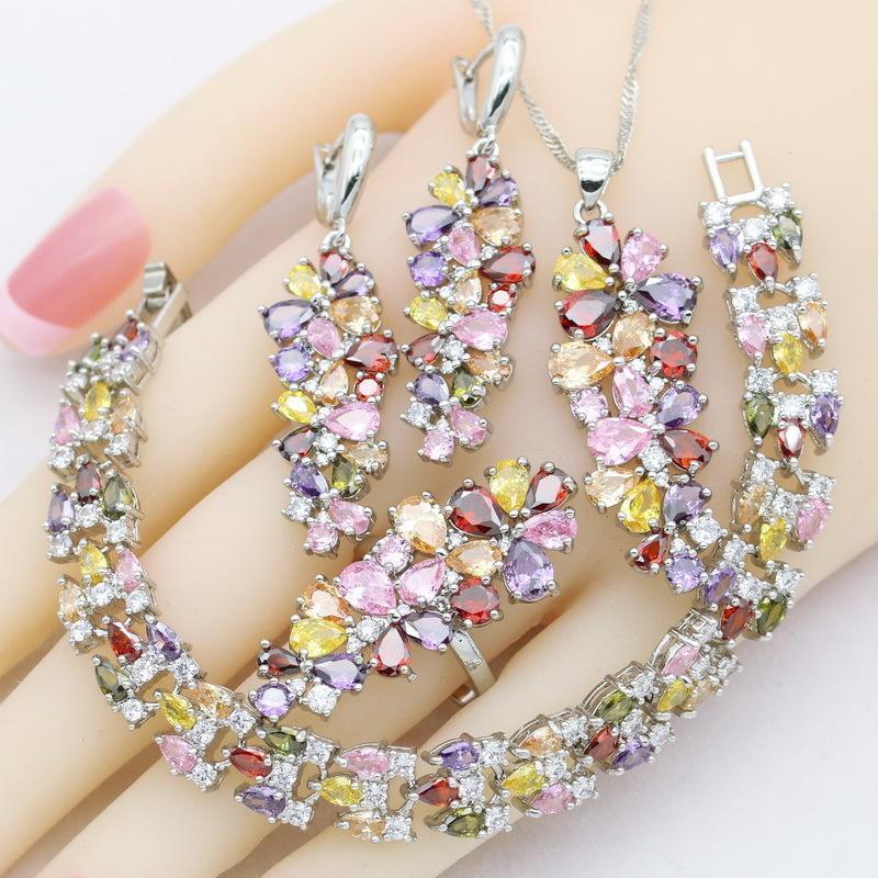 2021 Çok Renkli Zirkon 925 Gümüş Kadınlar Takı Setleri Bilezik Küpe Kolye Kolye Yüzük Düğün Parti Doğum Günü Hediyesi