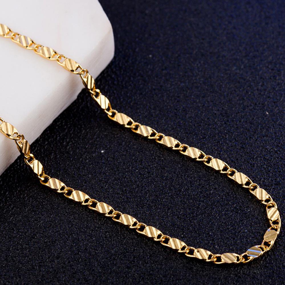 Vintage 2mm New Gold color Jewelry Women Mens Curb Necklace Thick Bohemian Long 40 45 50 55 60 65 70 75cm Link Chains10
