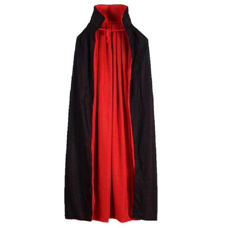 90cm 120cm Cape de vampire Cape Cap Collier Cap Cap Cap Rouge Noir Reversible Pour Halloween Costume Themmed Party Cosplay Hommes Femmes