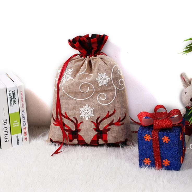 Рождественская подарочная сумка монограммируемые сумки DrawStstring Santa Claus Sack Большие холстные мешки Xmas Decoration Party Party EWB9473
