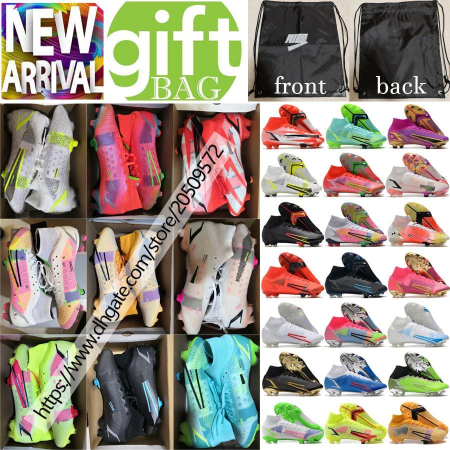 Nuevas botas de fútbol de primera calidad para hombre Mercurial Superfly VIII Elite FG CR7 Ronaldo Clases Alto Tobillo Soft Soft Spikes al aire libre Punto de Punto ACC Calcetines Zapatos de Fútbol Tamaño US6.5-12