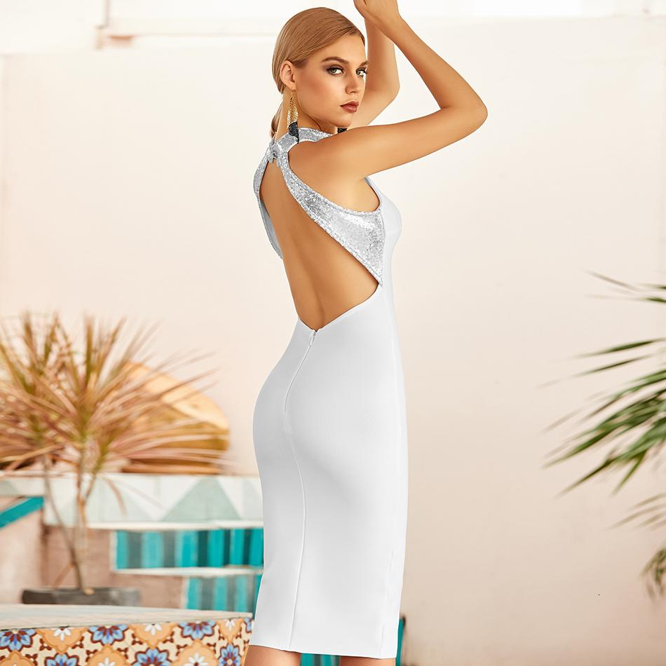 2021 Neue Sommer Frauen Halfter Backless Bandage Sexy Patchwork Knielang Club Celebrity Runway Party Kleid 4YFD