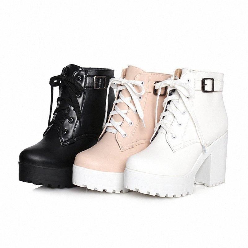 Botas de tobillo blanco botines zapatos de roca señoras mujer tacón grueso tacón redondo de punta de punta arriba martines bajos de gran tamaño alto tacón alto caucho PU U0SC #