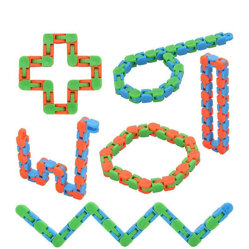 Free DHL Cadena Wacky Tracks Snap Click Fidget Toys Anti Stress Kids Autism Snoke Puzzles Classor Sensory Antistress Toy