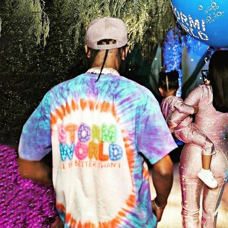 20ss Ins Sıcak Yüz Parti Sokak Travis Dünyası 2 Gülümseme Tasarımcısı Kaykay Boya Tee Kravat Erkek Mavi Kadın Gömlek T Stormi Tişört Rahat Doxit