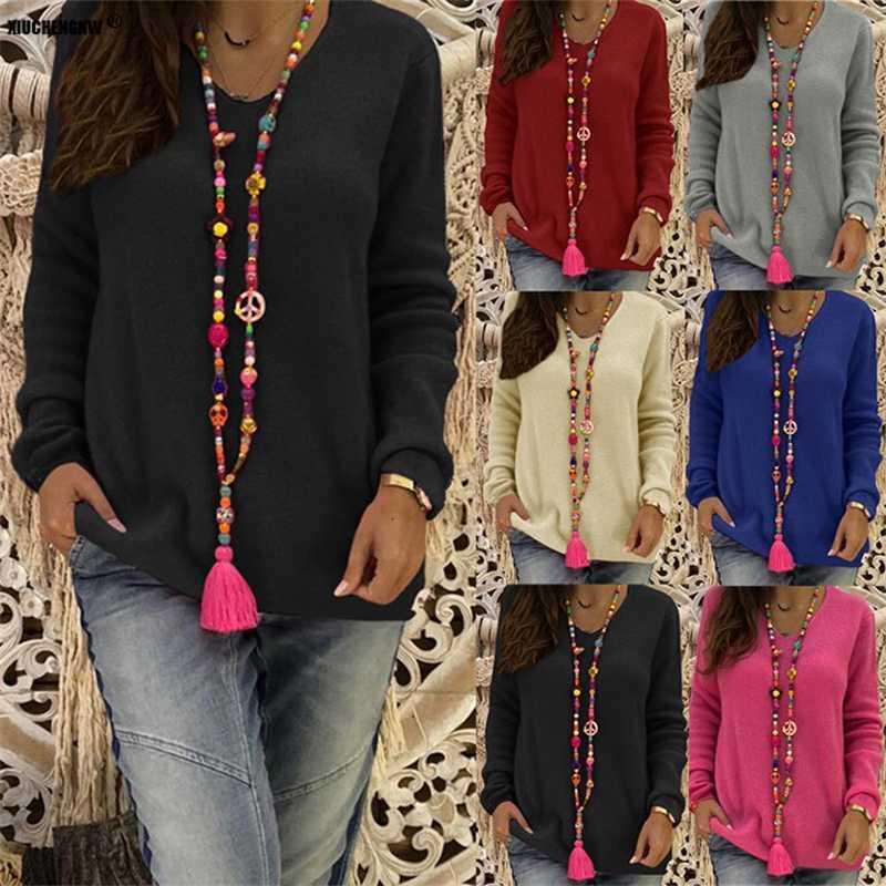 Suéter para mujer 4xl 5xl rosa más tamaño mujeres casual completo sólido suéter largo streetwear nueva llegada Tamaño asiático