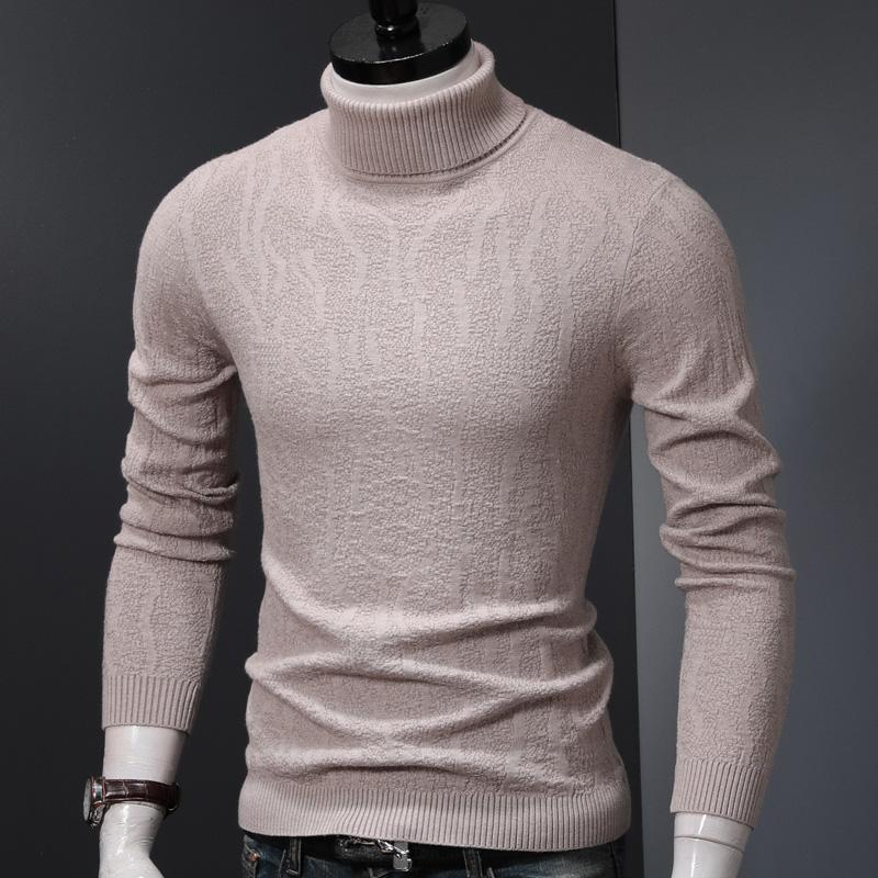 Мужчины мода Turtelneck свитер зимняя одежда вязаные пуловеры