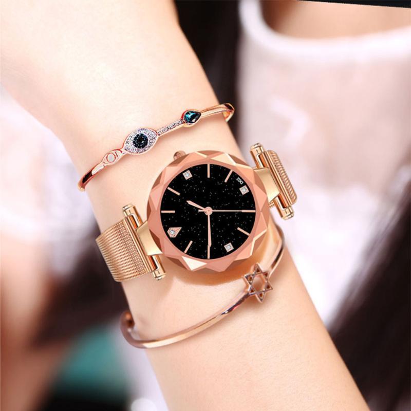 Montres-bracelets Womens Womens Montres Analog Quartz Montre Femmes Maille en acier inoxydable Date d'horloge Mode ultra-mince Starry Sky cadran