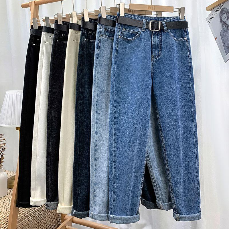 Женские брюки гарема высокой талии джинсы повседневные джинсовые Pantalon Femme старинные с ременью брюки 210222