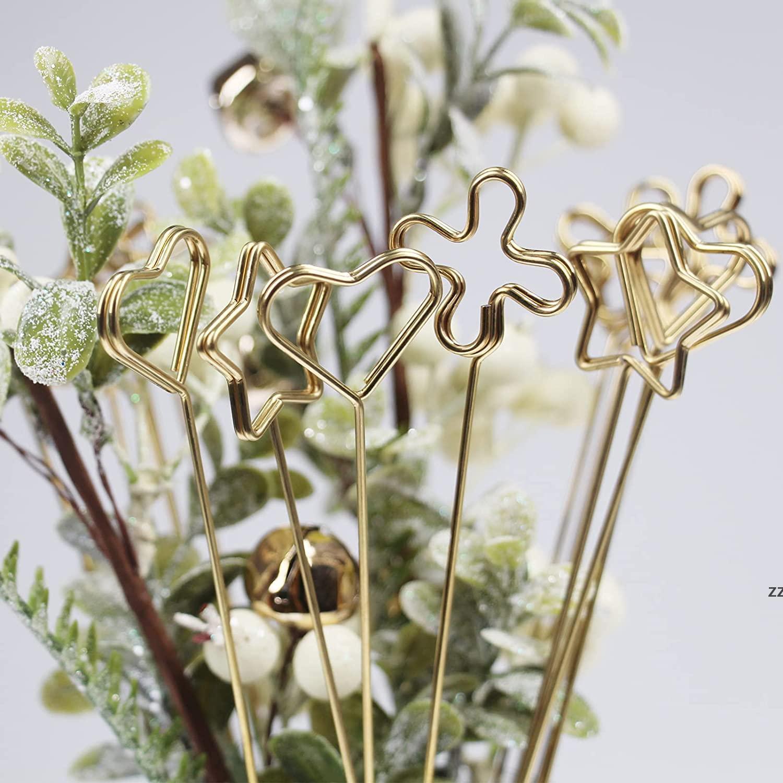 Gifts Wrap Packaging Florist Bouquet Gift Card Holders Golden Round Heart Star Metal Long Stick Flower Clip HWF10133