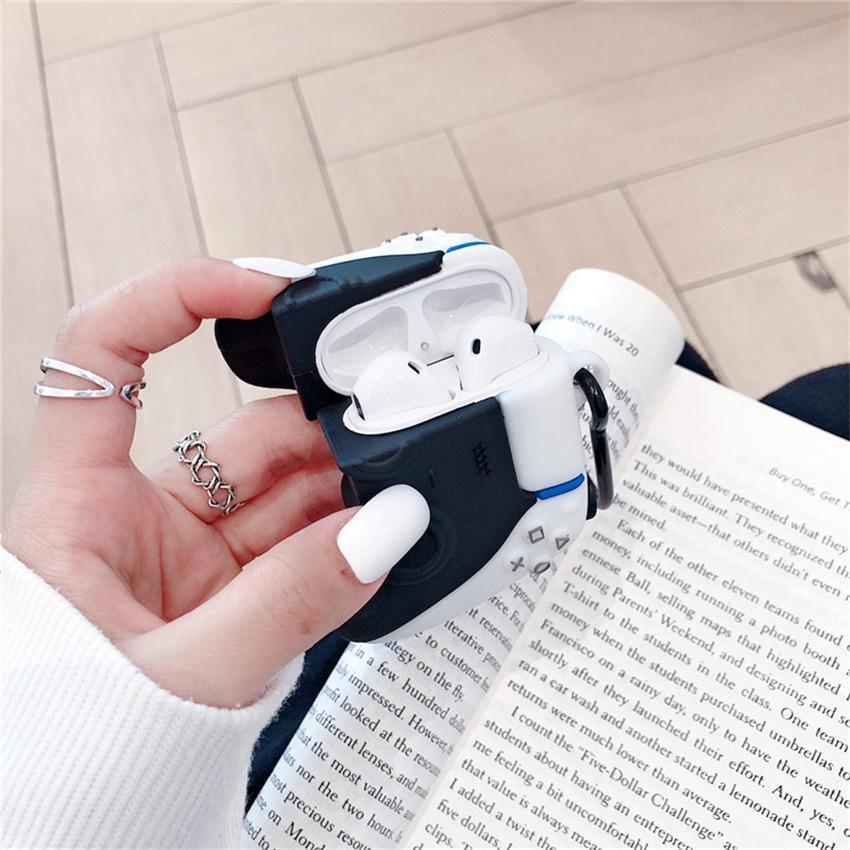 3d لطيف ps5 gamepad جويستيك لوحات المفاتيح للطائرات الجوية 1 2 غطاء حماية سماعة لتفاح سماعات بلوتوث كامل الجسم حالات سيليكون