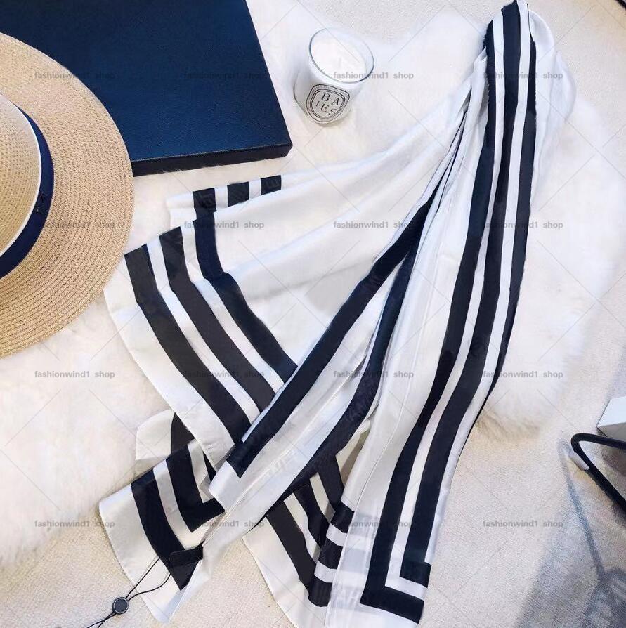 2021 Écharpes de soie de mode Femmes Chapeaux de luxe de luxe en gros Écharpe de haute qualité Écharpes d'été 180 * 70cm 3 couleurs 0188