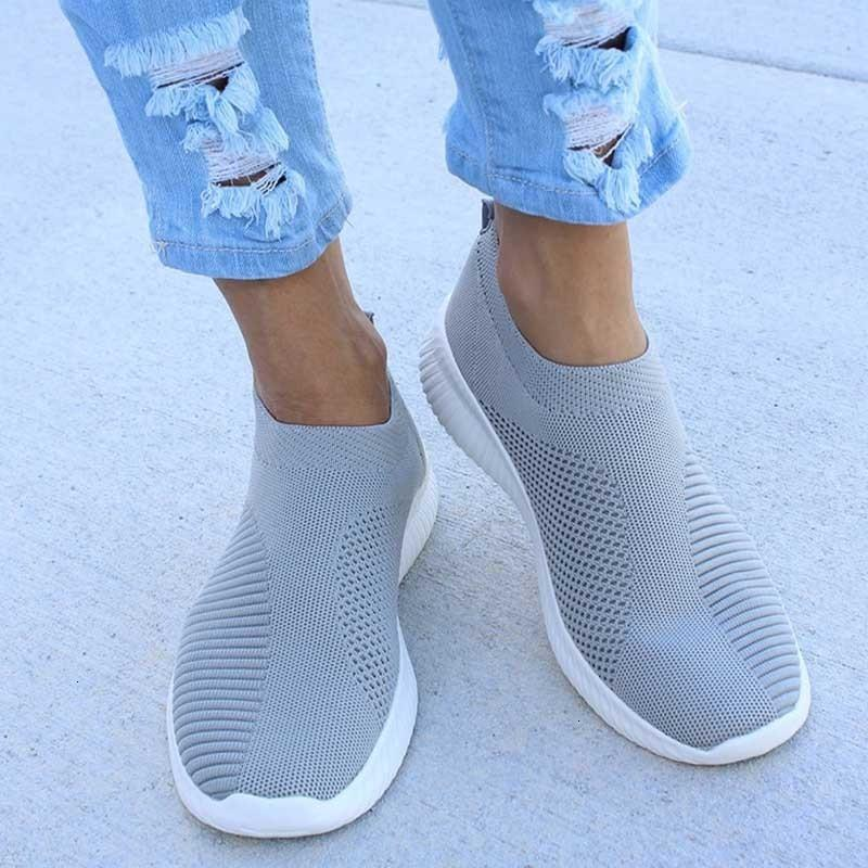 2021 Tino Kino Kadınlar Düz Örme Sonbahar Sneakers Ayakkabı Yeni Artı Boyutu Örgü Vulkanize Bayanlar Nefes Rahat HEPZ TW48 Üzerinde Kayma