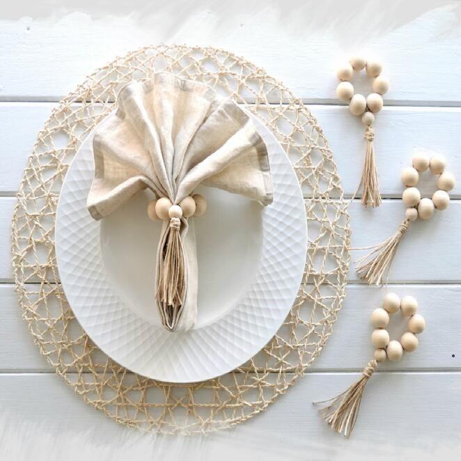 Napkin Rings Wooden Bead Napkins Rings Home Decor Napkin Buckle Floral Diamond Set Napkin Ring Hotel Table Decoration Countryside AHB5120