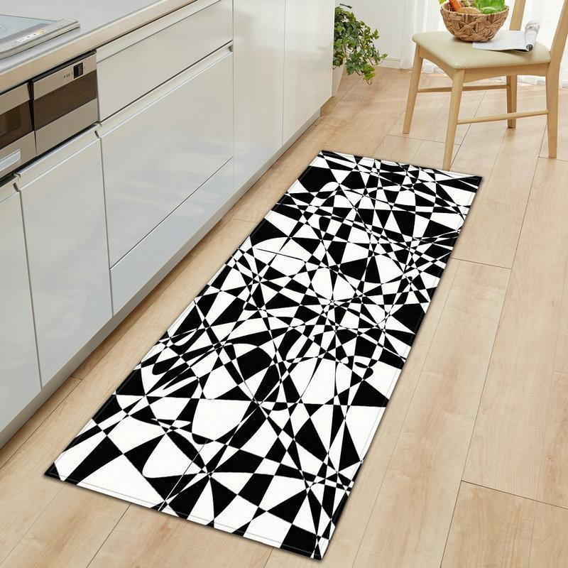 Tapetes Banheiro Entrada Capacete Lavável Lavável Cozinha de Cozinha Esteira Preto Branco Cor Geometria Quarto Área de cabeceira Tapetes impermeáveis