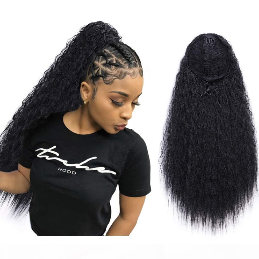 Натуральный бразильский хвост человеческие волосы Hairstring Cllip в афро kinky вьющиеся высокий пони хвостовой волосы 140g