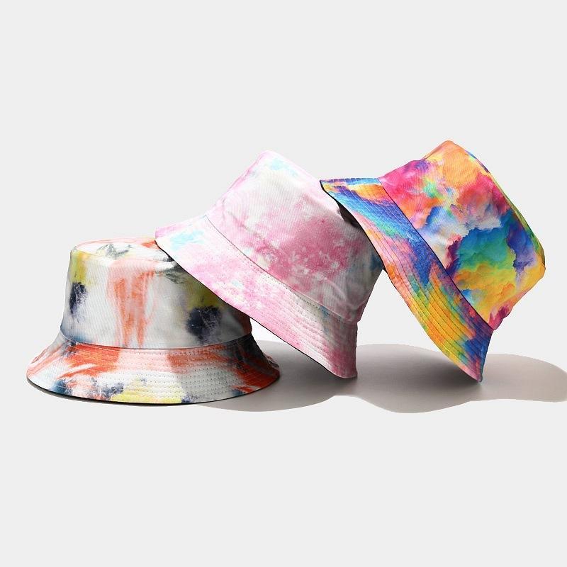 Eimer Hut Krawatte Farbstoff Harajuku Blume Kontrast farbig Reversible Packable Breitrand Sonnenvisor Hip Hop Baumwolle Fisherman Cap GWB8799