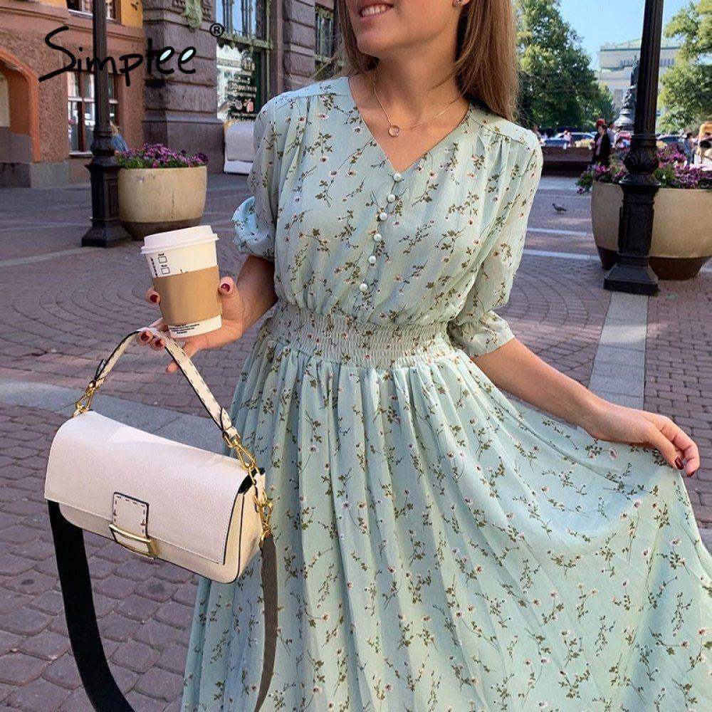 Simplee Women floral print dress Elegant women puff sleeve a line v neck sash dress High waist work wear office lady dress 210222