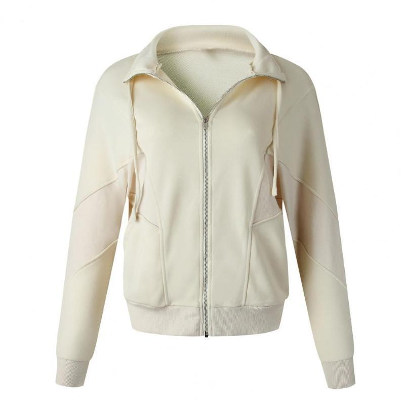 여성용 재킷 2021 간단한 캐주얼 더블 포켓 지퍼 여성 솔리드 컬러 턴 다운 칼라 모든 일치 스웨터